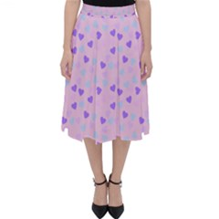 Blue Pink Hearts Folding Skater Skirt by snowwhitegirl