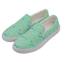 Minty Hearts Men s Canvas Slip Ons by snowwhitegirl