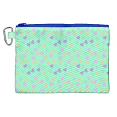 Minty Hearts Canvas Cosmetic Bag (xl)