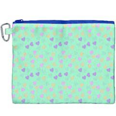 Minty Hearts Canvas Cosmetic Bag (xxxl) by snowwhitegirl