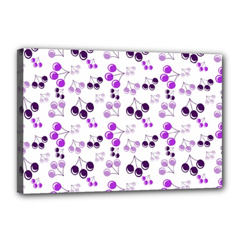 Purple Cherries Canvas 18  X 12  by snowwhitegirl
