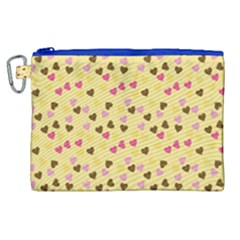 Beige Hearts Canvas Cosmetic Bag (xl) by snowwhitegirl