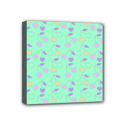 Mint Heart Cherries Mini Canvas 4  X 4  by snowwhitegirl