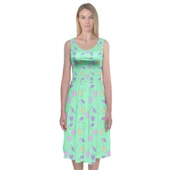 Mint Heart Cherries Midi Sleeveless Dress by snowwhitegirl
