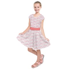 Light Pink My Daddy Is My Valentine Kids  Short Sleeve Dress