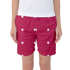 Red Dot Women s Basketball Shorts by snowwhitegirl
