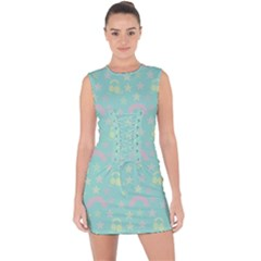 Music Stars Seafoam Lace Up Front Bodycon Dress