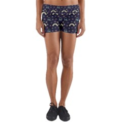 Music Stars Dark Teal Yoga Shorts by snowwhitegirl