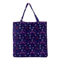Music Stars Navy Grocery Tote Bag by snowwhitegirl