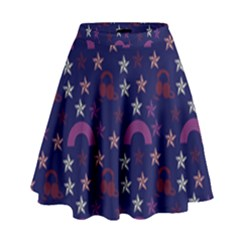 Music Stars Navy High Waist Skirt by snowwhitegirl