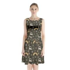 Music Stars Grey Sleeveless Waist Tie Chiffon Dress