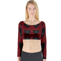 Cupcake Blood Red Black Long Sleeve Crop Top