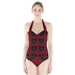 Cupcake Blood Red Black Halter Swimsuit by snowwhitegirl