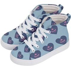 Cupcake Heart Teal Blue Kid s Hi Top Skate Sneakers by snowwhitegirl