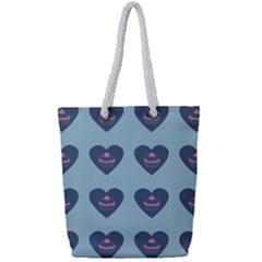 Cupcake Heart Teal Blue Full Print Rope Handle Tote (small) by snowwhitegirl