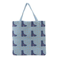 Deer Boots Teal Blue Grocery Tote Bag by snowwhitegirl