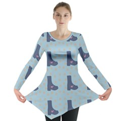 Deer Boots Teal Blue Long Sleeve Tunic  by snowwhitegirl