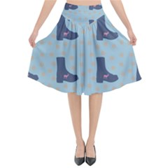 Deer Boots Teal Blue Flared Midi Skirt by snowwhitegirl