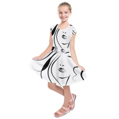 Womans Face Line Kids  Short Sleeve Dress