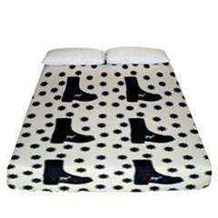 Deer Boots White Black Fitted Sheet (california King Size) by snowwhitegirl