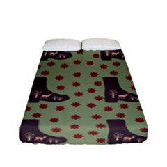 Deer Boots Green Fitted Sheet (full/ Double Size) by snowwhitegirl