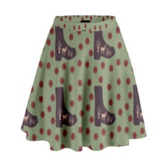 Deer Boots Green High Waist Skirt by snowwhitegirl