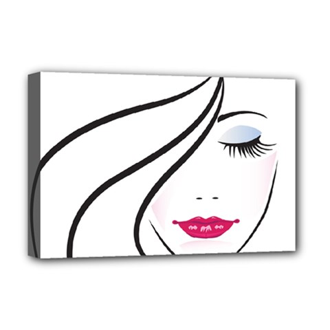 Makeup Face Girl Sweet Deluxe Canvas 18  X 12   by Mariart