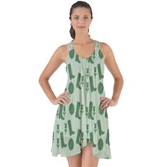 Green Boots Show Some Back Chiffon Dress by snowwhitegirl
