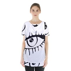 Drawn Eye Transparent Monster Big Skirt Hem Sports Top by Alisyart