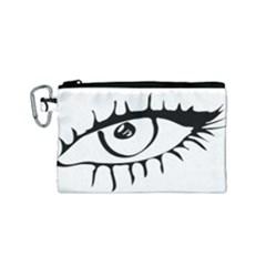 Drawn Eye Transparent Monster Big Canvas Cosmetic Bag (small) by Alisyart