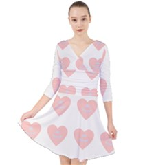 Cupcake White Pink Quarter Sleeve Front Wrap Dress	 by snowwhitegirl