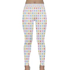 Blue Pink Yellow Eggs On White Classic Yoga Leggings by snowwhitegirl
