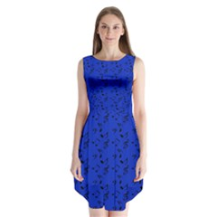 Royal Blue Music Sleeveless Chiffon Dress
