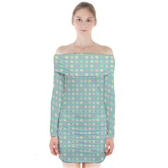 Pink Peach Green Eggs On Seafoam Long Sleeve Off Shoulder Dress