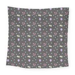 Cakes Yellow Pink Dot Sundaes Grey Square Tapestry (large)