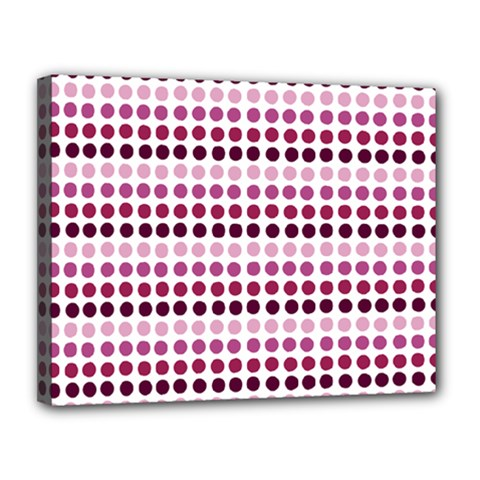 Pink Red Dots Canvas 14  X 11  by snowwhitegirl
