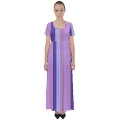 Violet Stars High Waist Short Sleeve Maxi Dress