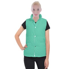 Seafoamy Green Women s Button Up Puffer Vest