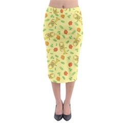 Tuba And Flower Pattern Midi Pencil Skirt