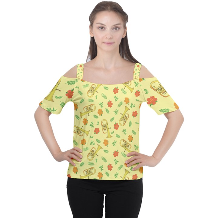 Tuba and Flower Pattern Cutout Shoulder Tee