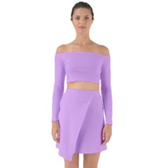 Purple Whim Off Shoulder Top With Skirt Set