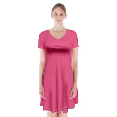 Rosey Day Short Sleeve V Neck Flare Dress