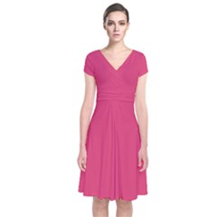 Rosey Day Short Sleeve Front Wrap Dress