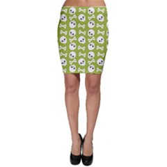 Skull Bone Mask Face White Green Bodycon Skirt
