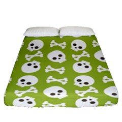 Skull Bone Mask Face White Green Fitted Sheet (queen Size) by Alisyart
