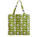 Skull Bone Mask Face White Green Zipper Grocery Tote Bag View1