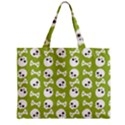 Skull Bone Mask Face White Green Zipper Mini Tote Bag View1