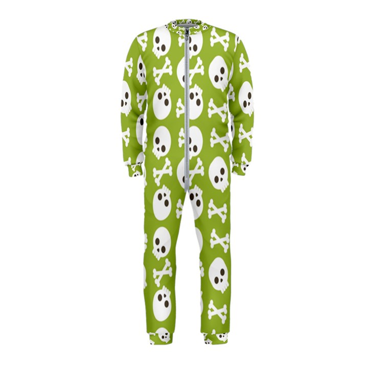 Skull Bone Mask Face White Green OnePiece Jumpsuit (Kids)