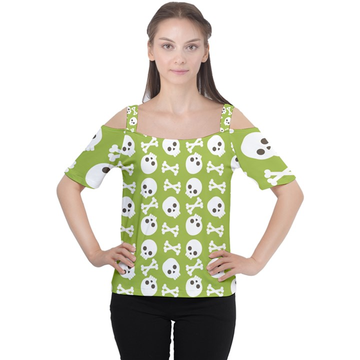 Skull Bone Mask Face White Green Cutout Shoulder Tee