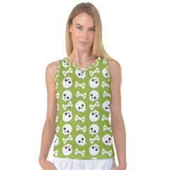 Skull Bone Mask Face White Green Women s Basketball Tank Top